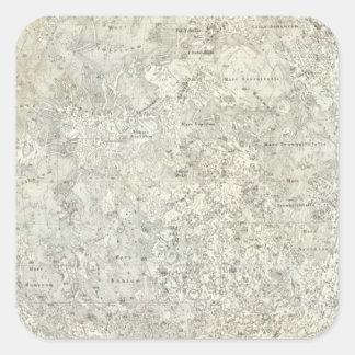 Mapa de la luna pegatina cuadrada
