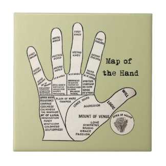 Mapa de la mano de la quiromancía de la lectura de tejas  cerámicas