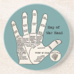 Mapa de la mano de la quiromancía de la lectura de posavasos cerveza
