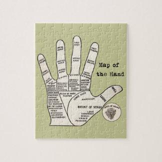 Mapa de la mano de la quiromancía de la lectura de rompecabezas con fotos