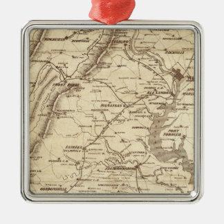 Mapa de la marca del telegrama de la guerra adorno navideño cuadrado de metal