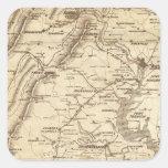 Mapa de la marca del telegrama de la guerra calcomanías cuadradas personalizadas