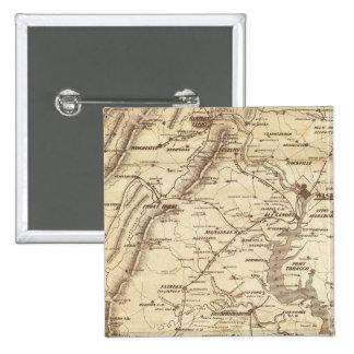 Mapa de la marca del telegrama de la guerra pin cuadrado