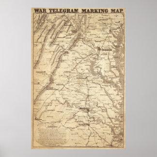 Mapa de la marca del telegrama de la guerra póster