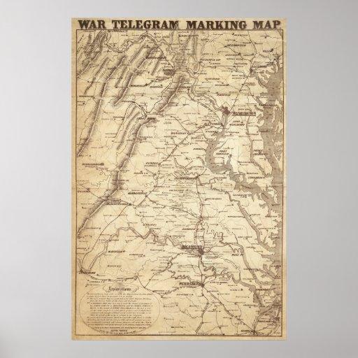 Mapa de la marca del telegrama de la guerra poster
