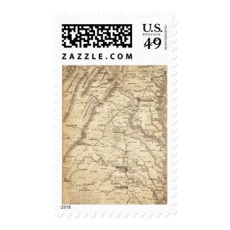 Mapa de la marca del telegrama de la guerra sellos postales