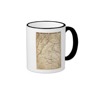 Mapa de la marca del telegrama de la guerra tazas de café