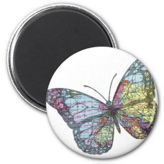 Mapa de la mariposa del vintage imán redondo 5 cm