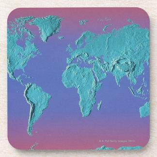 Mapa de la masa de la tierra posavasos de bebidas