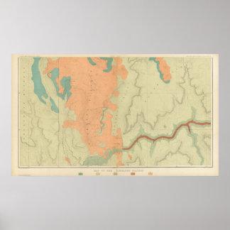 Mapa de la mitad del sur de la meseta de Uinkaret Póster