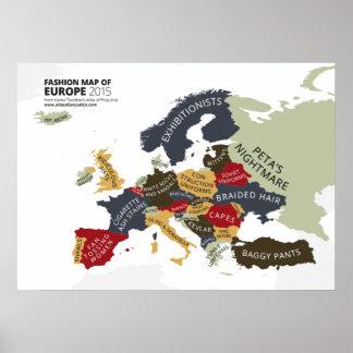 Mapa de la moda de Europa Póster