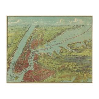 Mapa de la opinión de ojo de pájaros de Nueva York Impresión En Madera