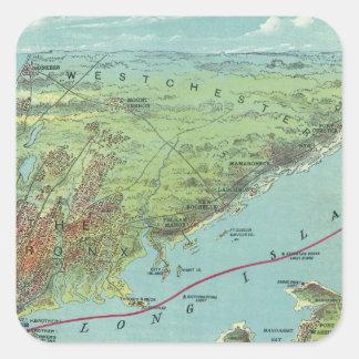 Mapa de la opinión de ojo de pájaros de Nueva York Calcomania Cuadrada Personalizada