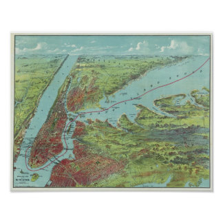 Mapa de la opinión de ojo de pájaros de Nueva York Póster