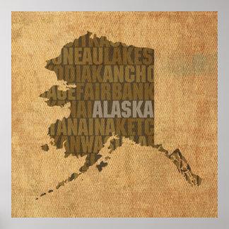 Mapa de la palabra del esquema del estado de Alask Póster