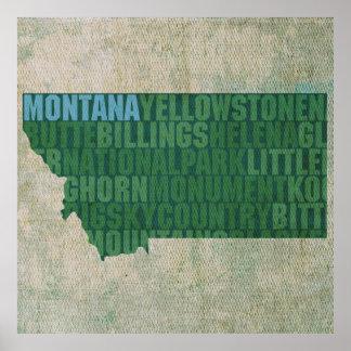 Mapa de la palabra del esquema del estado de Monta Póster