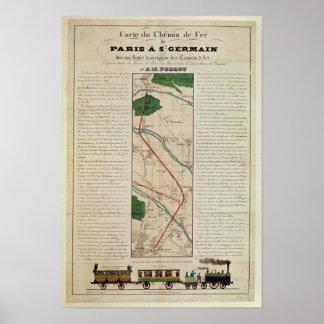 Mapa de la París al ferrocarril de St Germain, cer Póster