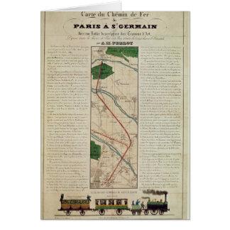 Mapa de la París al ferrocarril de St Germain, cer Tarjeta De Felicitación