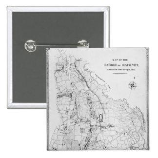 Mapa de la parroquia de Caballo de alquiler Pin Cuadrada 5 Cm