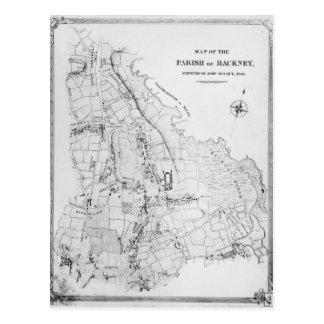 Mapa de la parroquia de Caballo de alquiler Postal