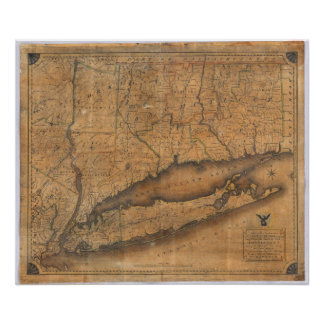 Mapa de la parte meridional del estado de Nueva Yo Poster
