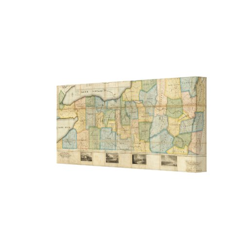 Mapa de la parte occidental del estado de Nueva Yo Lienzo Envuelto Para Galerias