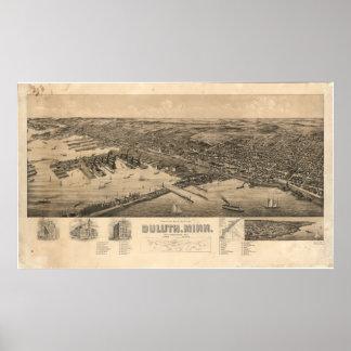 Mapa de la perspectiva de Duluth Minnesota (1893) Póster