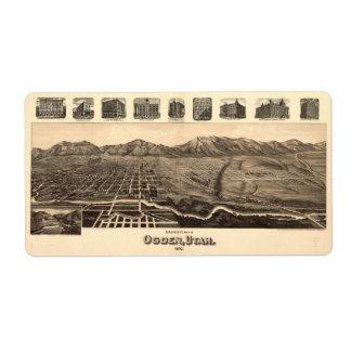 Mapa de la perspectiva de Ogden Utah (1890) Etiquetas De Envío