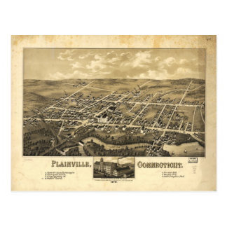 Mapa de la perspectiva de Plainville Connecticut Tarjetas Postales