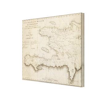 Mapa de la pieza francesa de St Domingo Impresión De Lienzo