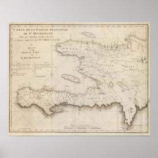 Mapa de la pieza francesa de St Domingo Poster