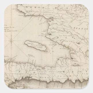 Mapa de la pieza francesa de St Domingo Calcomanías Cuadradass