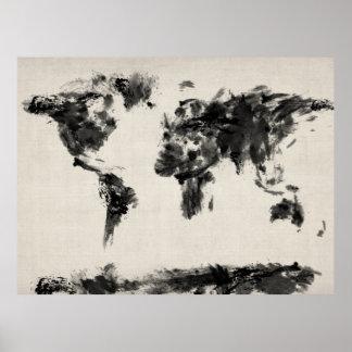 Mapa de la pintura abstracta oscura del mapa del m impresiones