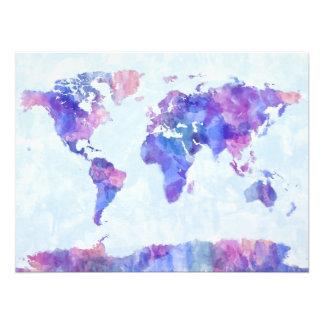 Mapa de la pintura de la acuarela del mapa del mun impresión fotográfica