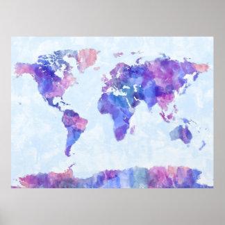 Mapa de la pintura de la acuarela del mapa del mun póster