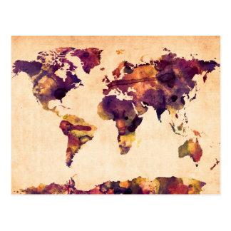 Mapa de la pintura de la acuarela del mapa del tarjeta postal