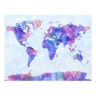 Mapa de la pintura de la acuarela del mapa del tarjetas postales