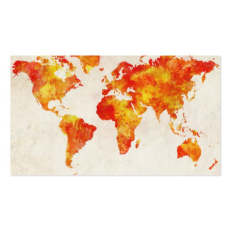 Mapa de la pintura del extracto del mapa del mundo tarjetas de visita
