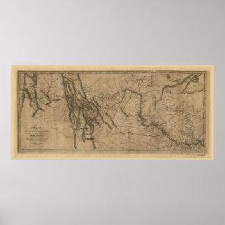 Mapa de la pista de Lewis y de Clark Póster