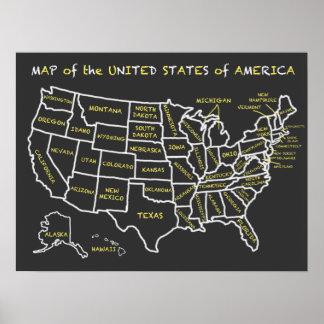 Mapa de la pizarra de la diversión de los Estados Póster
