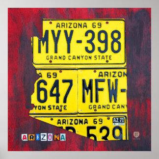 Mapa de la placa de Arizona Póster