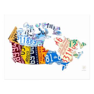 Mapa de la placa de Canadá en la postal blanca