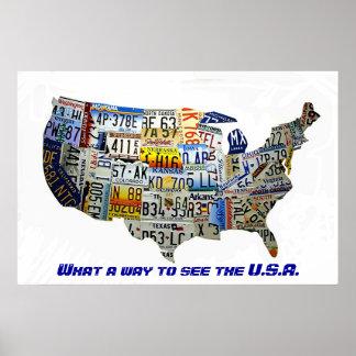 Mapa de la placa de Estados Unidos Póster