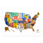 Mapa de la placa de la postal de los E.E.U.U.