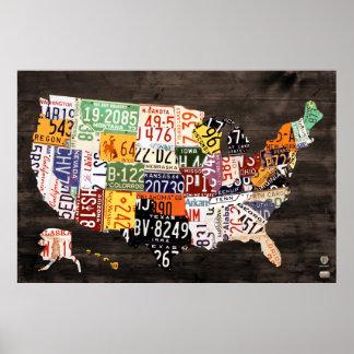 Mapa de la placa De los E.E.U.U. - colores Póster