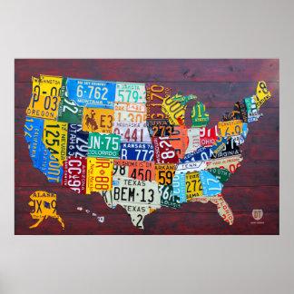 Mapa de la placa de los Estados Unidos Ed 2012. 1 Póster