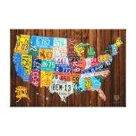 Mapa de la placa de los Estados Unidos en pino Lona Estirada Galerías