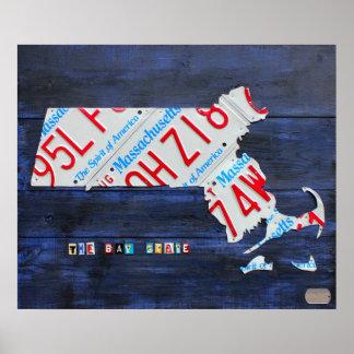 Mapa de la placa de Massachusetts por la carretera Impresiones