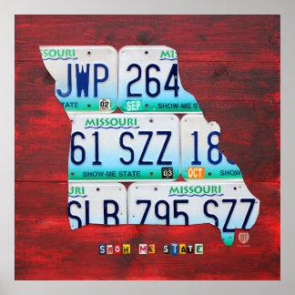 Mapa de la placa de Missouri Poster