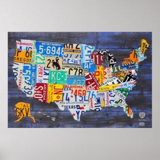 Mapa de la placa del azul Ed de Estados Unidos. 13 Póster